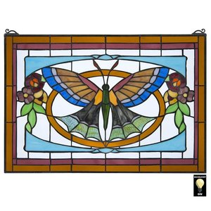 Butterfly Ballet Tiffany-Style Stained Glass Window
