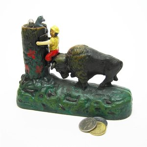 Butting Buffalo Collectors' Die Cast Iron Mechanical Coin Bank