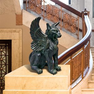 Caesar's Classical Griffin Winged Lion Statue
