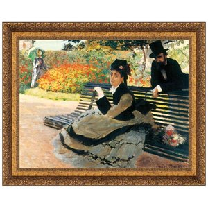 Camille Monet on a Garden Bench, 1873: Canvas Replica Painting: Large