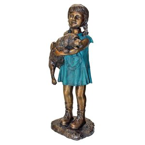 Can I Keep Him? Girl and Dog Cast Bronze Garden Statue