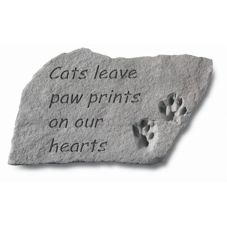 View larger image of Cat Paw Prints Cast Stone Memorial Statue: Large