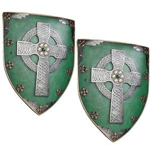 Celtic Warriors Sculptural Wall Shield: Set of Two