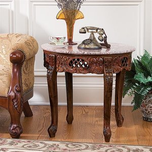 Chantret Marble-Topped Hardwood Side Table