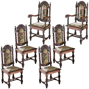 Charles II Chairs: Set of Four Side Chairs and Two Armchairs