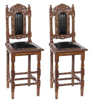 Charles II Gothic Bar Stool: Set of Two