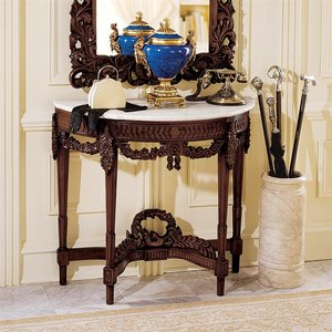 Chateau Gallet Marble-Topped Hardwood Console Table