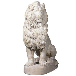 Stately Chateau Lion Sentinel Garden Statue: Right