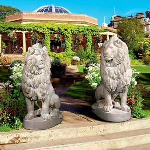 Stately Chateau Lion Sentinel Garden Statues: Set of Left and Right