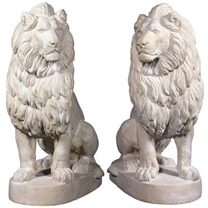 Stately Chateau Lion Sentinel Garden Statues