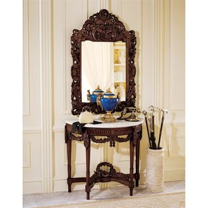 Chateau Gallet Marble Topped Hardwood Console Table with Mirror