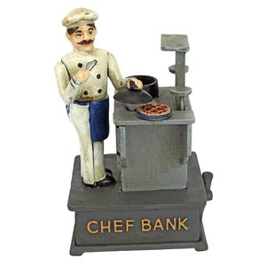 Chef Die-Cast Iron Mechanical Coin Bank
