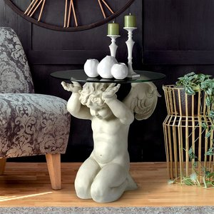 Cherubs Care Angelic Glass-Topped Sculptural Table