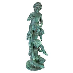 Child Play Stacked Spitting Bronze Statue