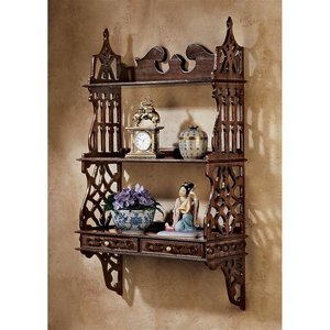 Chinese Chippendale-Style Hardwood Curio Shelves