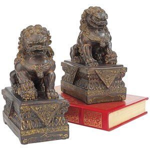 Chinese Guardian Lion Foo Dog Statues Set of Two
