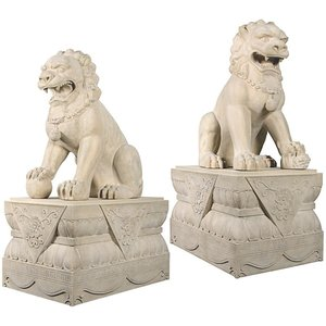 Grand Palace Chinese Lion Foo Dog Statues with Pedestal Bases