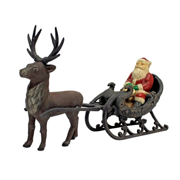 View larger image of Christmas Santa on Sleigh with Reindeer Die-Cast Iron Statue