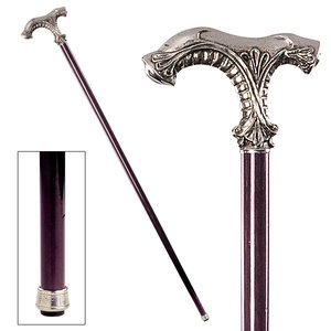 The Padrone Collection: Classic Ornate Pewter Walking Stick