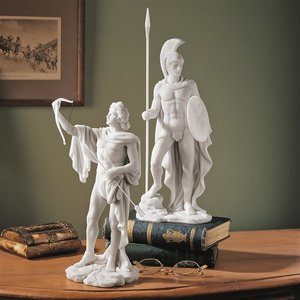 Apollo and Ares Classical Greek Gods Bonded Marble Statue Set