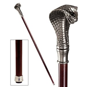 The Padrone Collection: Cobra Pewter Walking Stick