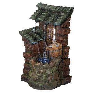 Cottage in the Forest Cascading Waterfall Illuminated Tabletop Fountain