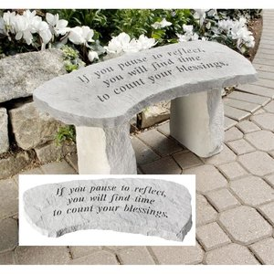 Count Your Blessings Cast Stone Memorial Garden Bench