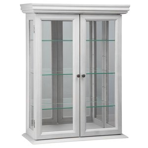 Country Tuscan Hardwood Wall Curio Cabinet: Lily White Finish