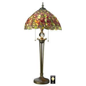 Croton Leaves Tiffany-Style Stained Glass Lamp