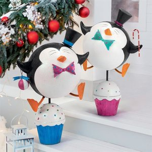 Cupcake Chorus Line Holiday Penguin Statues: Set of Two