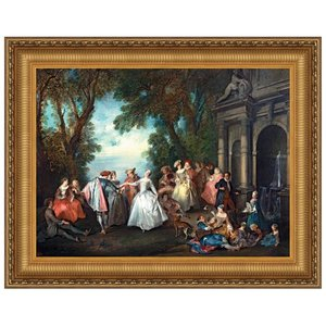 Dance Before a Fountain, 1724: Canvas Replica Painting: Large