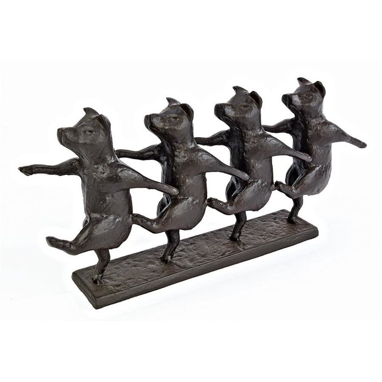 View larger image of Dancing Pig Chorus Line Cast Iron Statue