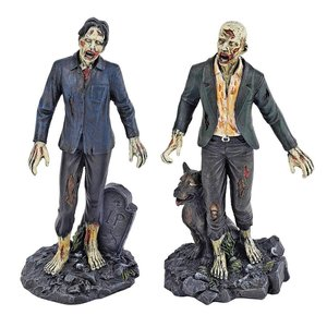 Dead Walking Zombie Statue Collection: Zombie with Tombstone & Zombie with Wolf