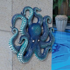 Deadly Blue Octopus of the Coral Reef Wall Sculpture