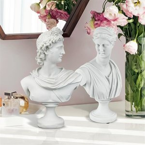 Diana of Versailles and Apollo Belvedere Bonded Marble Greek Bust Statues: Set of Two