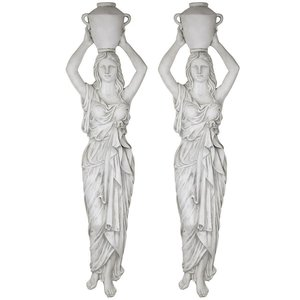 Dione the Divine Water Goddess Wall Sculpture: Set of Two