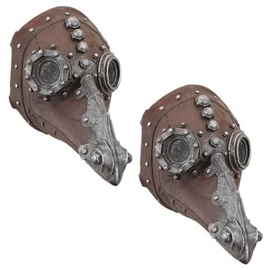 Doctor of Death Steampunk Plague Sculptural Mask: Set of Two
