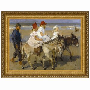 Donkey Rides on the Beach, 1901: Canvas Replica Painting: Small