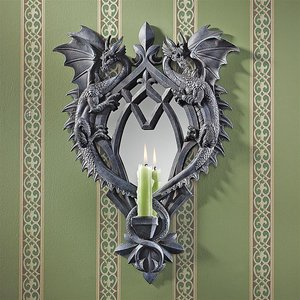 Double Trouble Gothic Dragon Mirrored Wall Sculpture