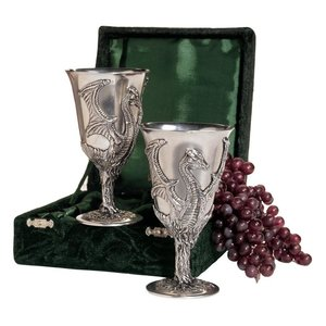 Dragon Pewter Goblets: Set of Two with Gift Box