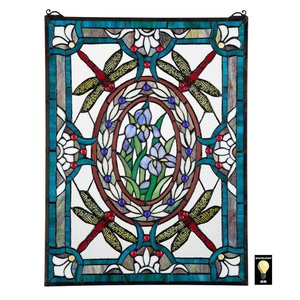 Dragonfly Floral Stained Glass Window