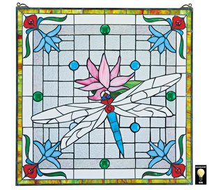 Dragonfly Pond Stained Glass Window