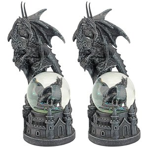 The Dragons of Castle Malahide Gothic Water Globe: Set of Two