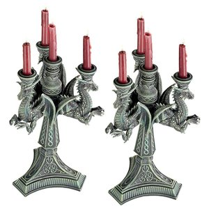 Dragons of the Knight Templar Sculptural Candelabra: Set of Two