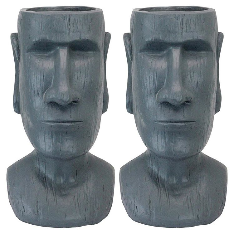 View larger image of Easter Island Massive Megalith Moai Head Planter Statue: Set of Two