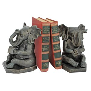 Educated Elephants Cast Iron Bookends: Set of Two