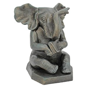 Educated Elephant Cast Iron Bookends
