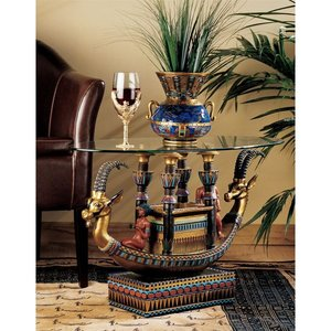 Egyptian Barge to the Beyond Glass-Topped Sculptural Table
