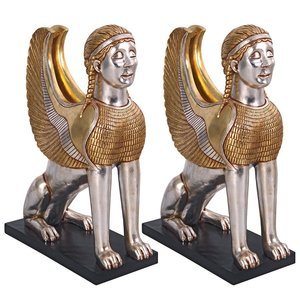 Egyptian Sphinx of Naxos Statue: Set of Two