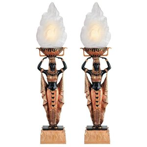 Egyptian Torch Offering Table Lamp - Set of Two